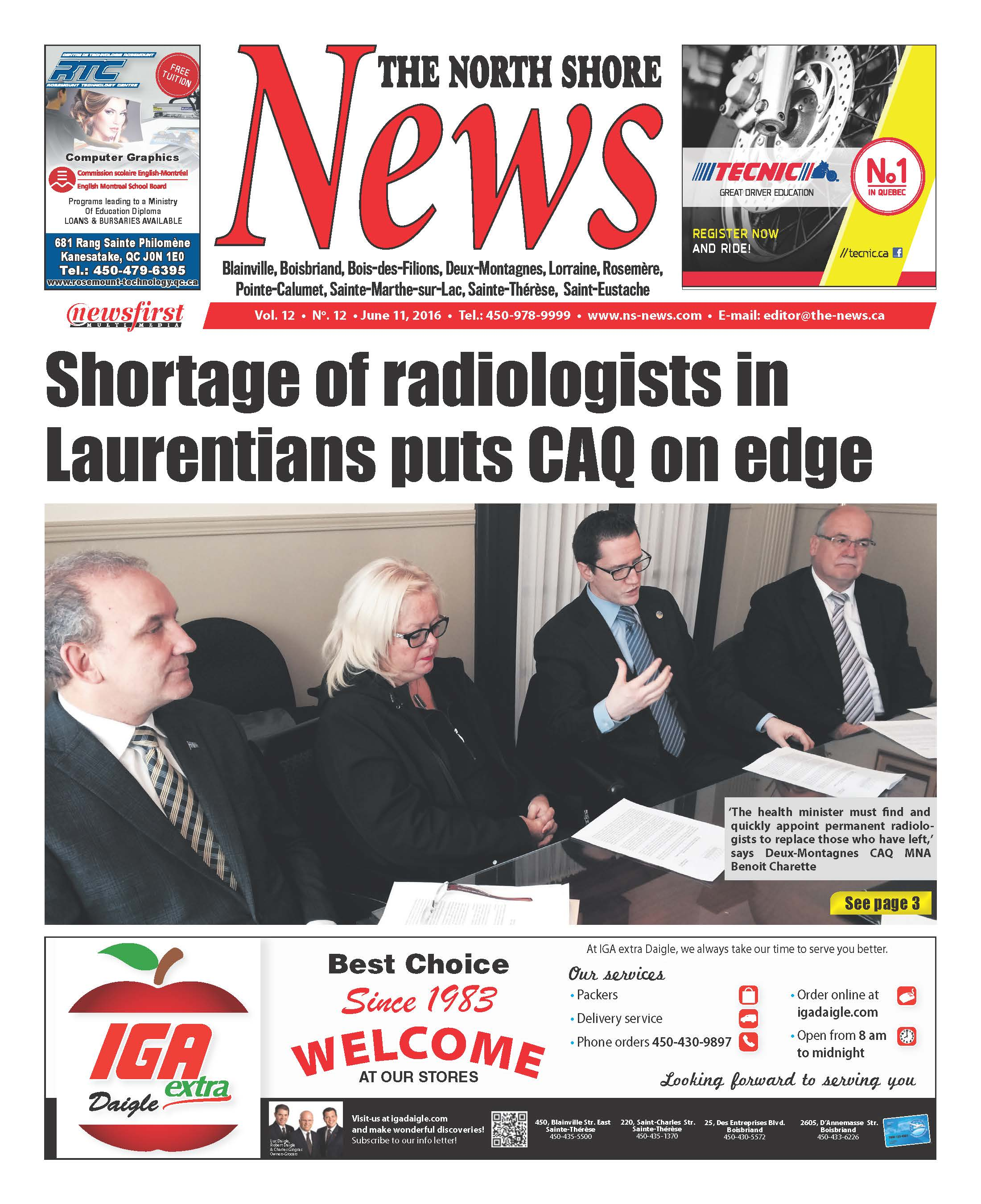 Front page image of the North Shore News Volume 12-12