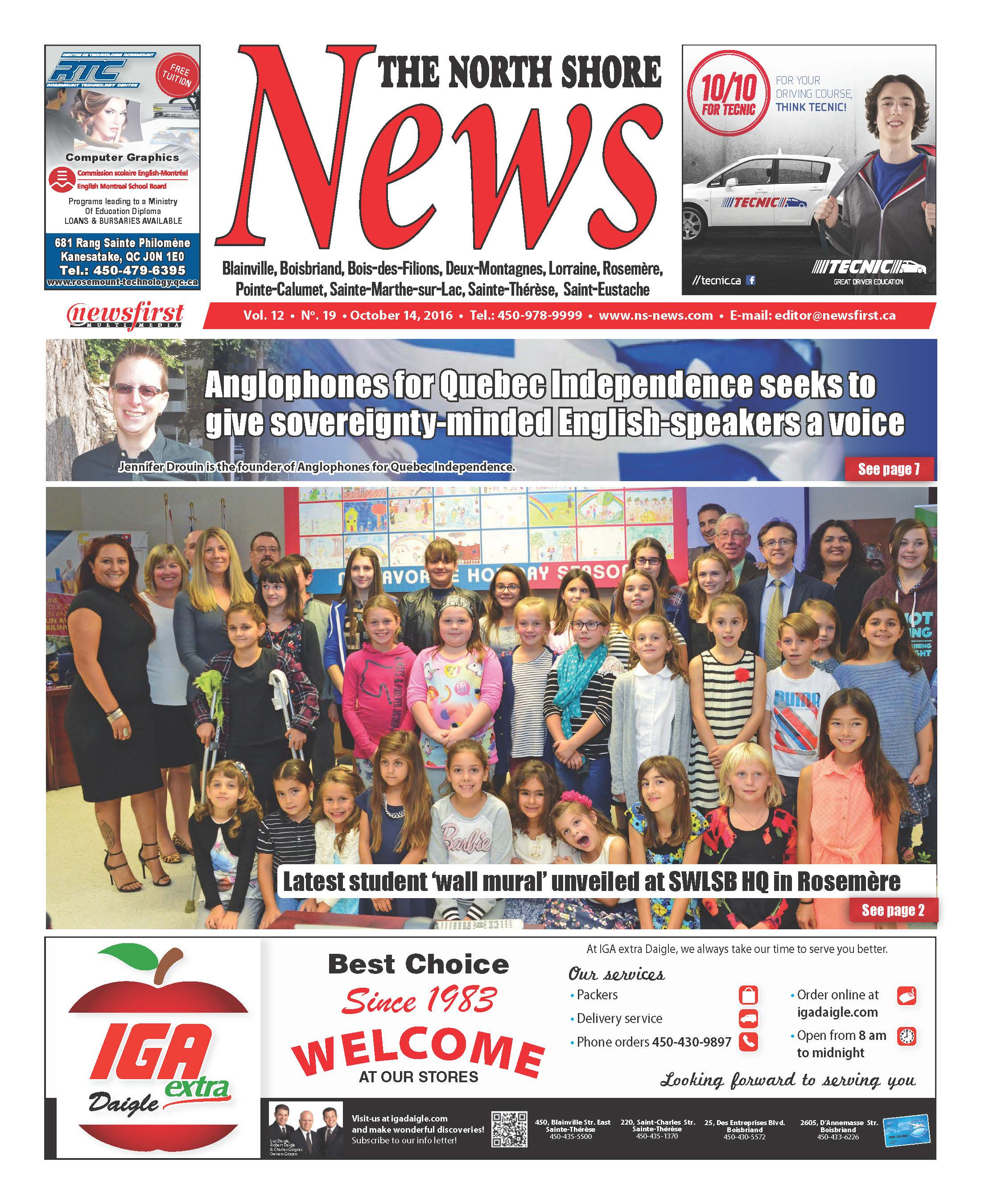 Front page image of the North Shore News Volume 12-19