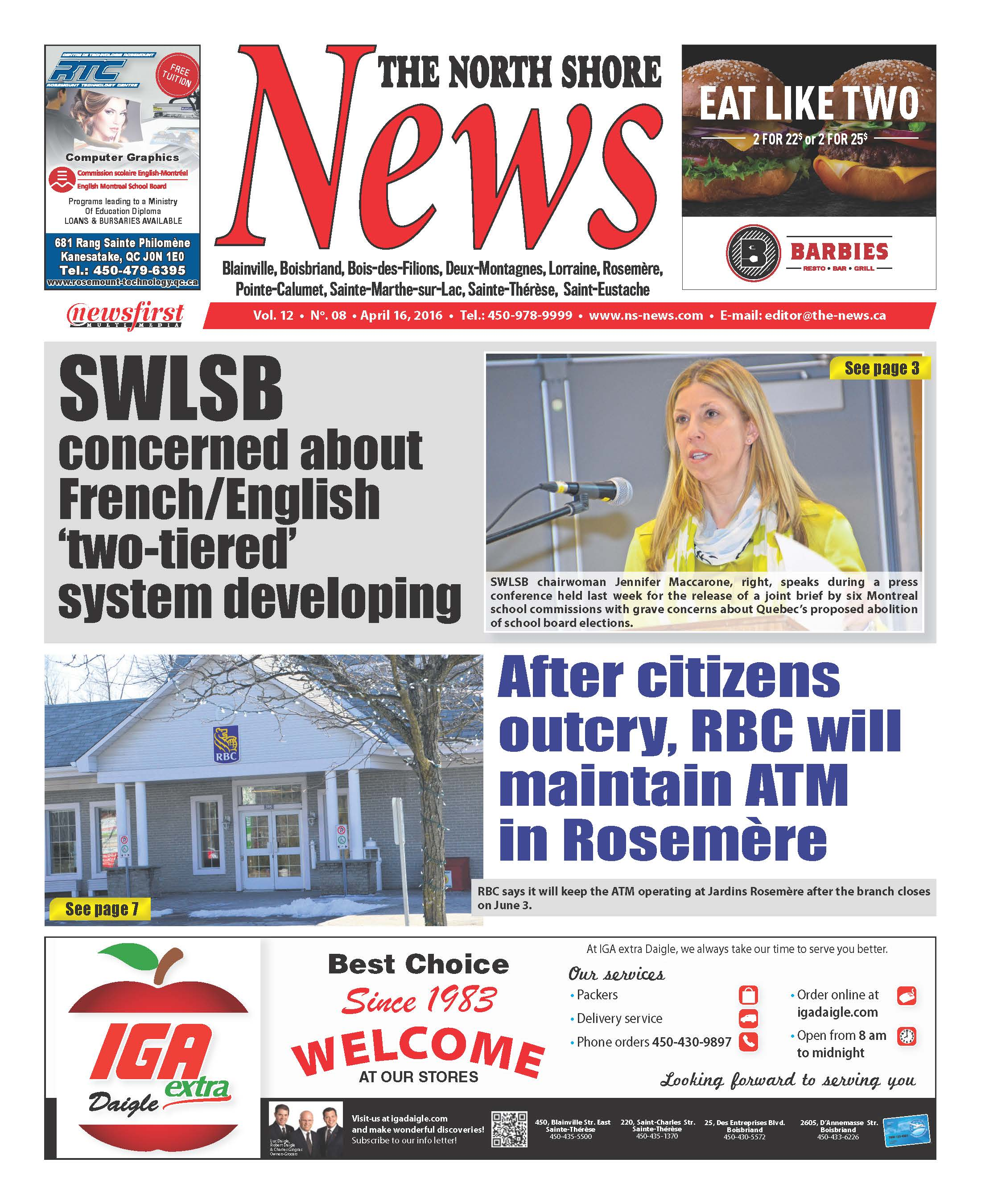 Front page image of the North Shore News Volume 12-8