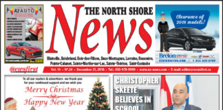 Front page image of the North Shore News 14-24.