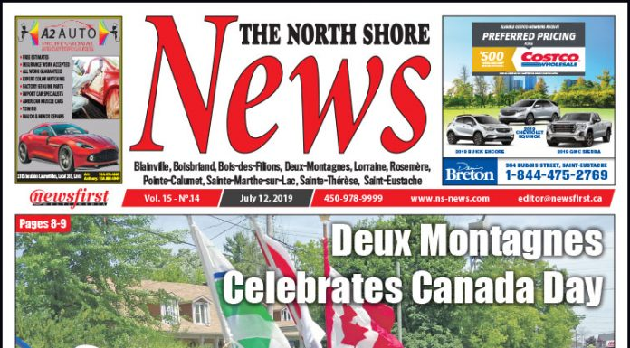 Front page image of the North Shore News 15-14.